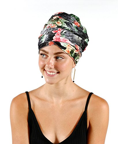 Pretty Simple Luxury Turban Floral Velvet Head Wrap Extra Long Scarf Tie, Gray by Pretty PS Simple (Image #1)