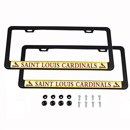 2PCS MLB Lightweight License Plate Frames Black Matte Powder Coated Aluminum - St. Louis ()