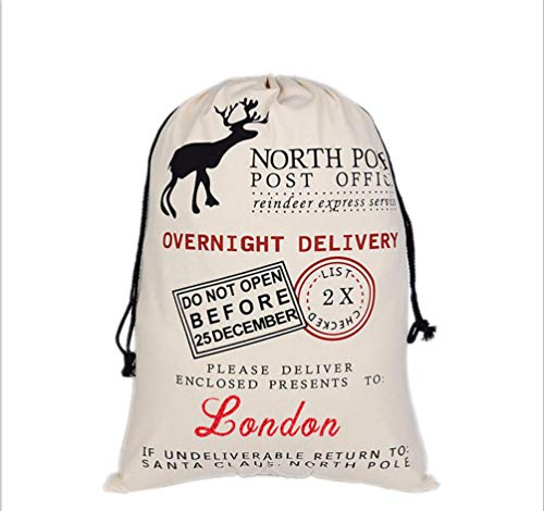 HUAN XUN Custom Name Christmas Santa Sack London Best Gifts Bags for Home Familys -