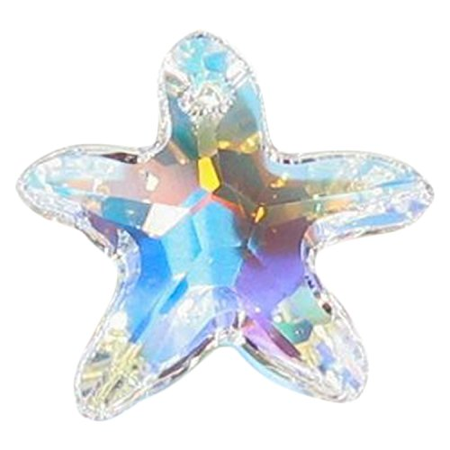 (1 pc Swarovski Crystal 6721 Starfish Charm Pendant Clear AB 16mm / Findings / Crystallized)