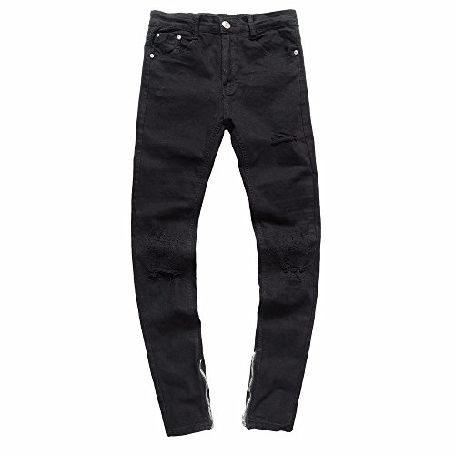 HYIRI Men'sClassict Motorcycle Vintage Denim Jeans Hiphop Streetwear Pants Black