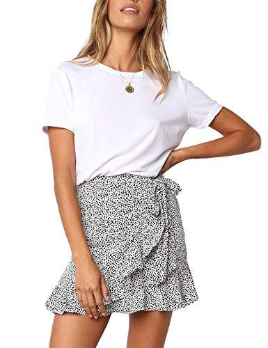 Relipop Women's Stretchy Cotton High Waist Ruffle Wrap Tie Knot Fishtail Mini Skirt