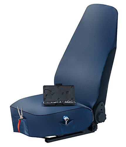 Pitshop24_de - Funda para asiento de coche para taller de piel sintética, funda de asiento de coche con dos prácticos bolsillos, de calidad profesional, color azul oscuro