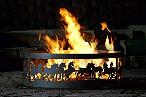 P&D Metal Works Campfire Fire Ring w Galloping Mustangs Design (48 in. Dia.) by P&D Metal Works