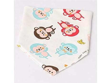 Encantador Lindo Mono patrón Toddler bebé Saliva Toalla niños Bib Babero Drool Adecuado para 0 a