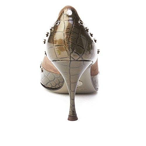 Dolce & Gabbana Kvinna Spetsig Tå Krokodilskinn Pump Grå