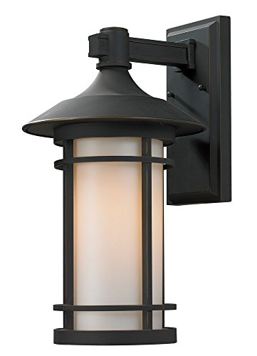 Z-Lite 528B-ORB Outdoor Wall Light, Matte Opal shade Oil Rubbed Bronze Finish For Sale