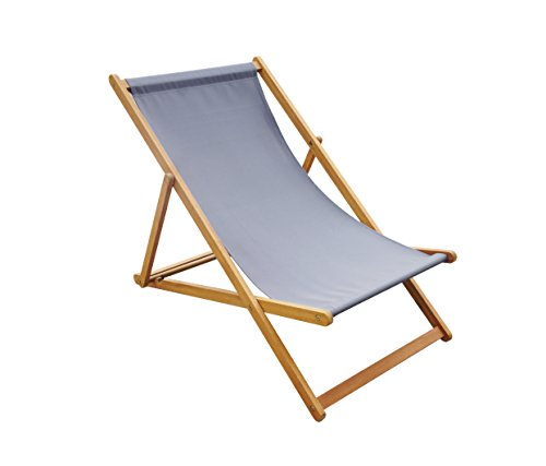 Amayo Home Solid Eucalyptus Wood Foldable Sling Chair Garden Seating, Hold 250lbs, Grey Canvas, Adjustable with 3 Reclining Positions. No Assembly. Comfortably Relax Chair in Garden Porch Pool by (Beach Chair Wood)