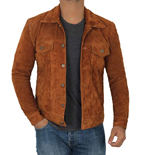 Decrum Brown Suede Leather Jacket Men | [1100364] Logn, ()