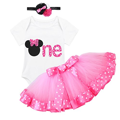 dPois Infant Toddlers Baby Girls 1st/2nd Birthday Party Cartoon 3 Pieces Outfit Romper Polka Dot Tutu Skirt with Headband Set White&Pink Letter One 9-12 Months