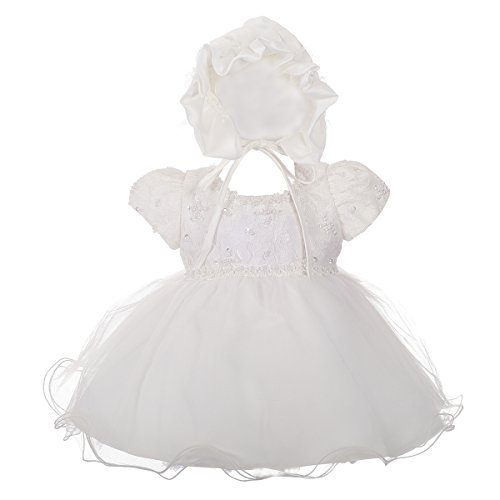 - Dressy Daisy Baby Girls' Baptism Christening Dress with Bonnet Beaded Lace Wedding Girls Dress Size 3-6 Months Ivory