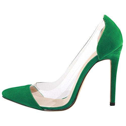 Fereshte Ladies Womes Tacco A Spillo Trasparente Scarpe Corte Verde