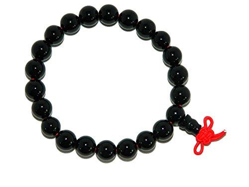 E1-0104 - Mala Gemstone Buddha Bracelet Beautiful Black Agate 5.5cm Diameter Handmade