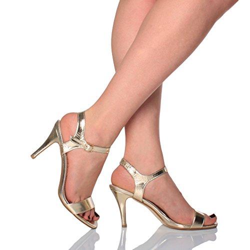 Sandali Donna Tallone Alto Oro Cinghietti Scarpe Caviglia Cinturino Metallizzato Numero Partito 0r0wAfq