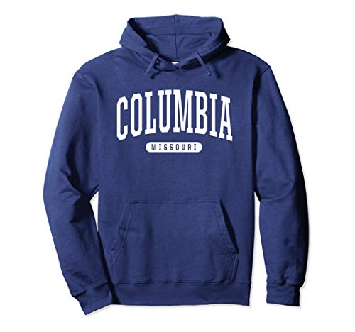 Columbia Drawstring Sweatshirt - Unisex Columbia Hoodie Sweatshirt College University Style MO USA 2XL Navy