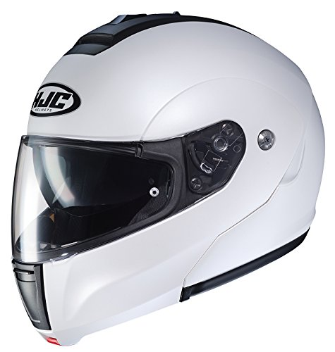 (HJC Helmets Unisex-Adult flip-up-Helmet-Style CL-MAX3 Semi Flat Pearl White XXX-Large)
