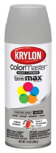Krylon K05160607 ColorMaster Paint + Primer, Gloss, Pewter Grey, 12 oz. ()