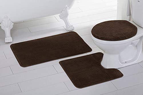 High Pile 3 Piece Bathroom Set Bath Mat Contour Rug /& Lid Cover Beige Brown