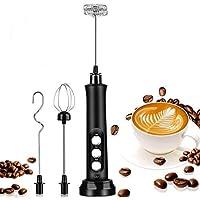 Tobeape® Milk Frother 3 Spring Whisk Heads, Electric Handheld Foam Maker 3 Speeds Egg Beater Drink Mixer, USB…
