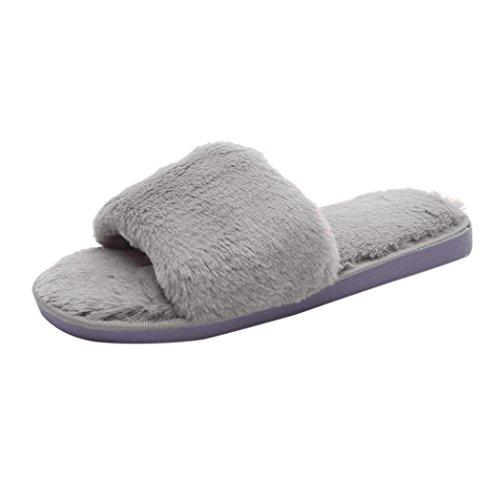 3fe50174abd9 hot sale 2017 LOUSHI Womens Girls Slip On Sliders Fluffy Faux Fur Flat  Slipper Flip Flop