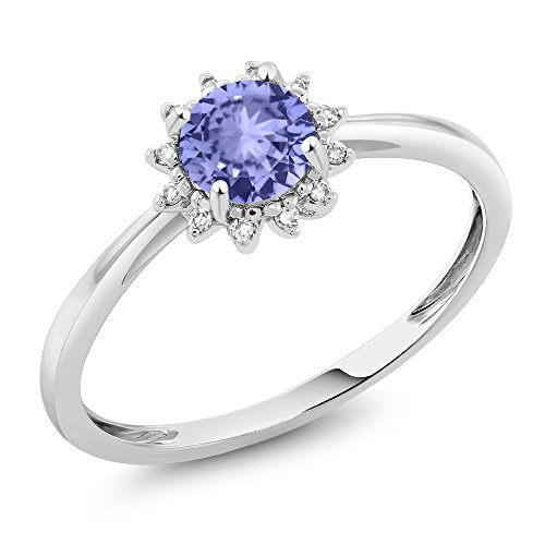 Gem Stone King 10K White Gold 0.46 Ct Round Blue Tanzanite and Diamond Engagement Ring (Size 7) ()