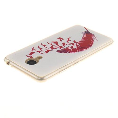 Fit Antichoc Silicone TPU Motif Peint Slim Red Cas Résistant feather Hozor Couverture Téléphone Meilan 3 Protection Arrière De En Transparent Scratch De Meizu Bord Note Souple Cas XZ6vq0