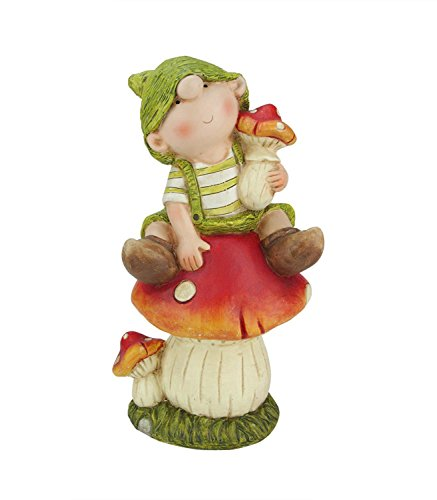 Northlight 11'' Young Boy Gnome Sitting on a Mushroom Spring Outdoor Garden Patio Figure by Northlight