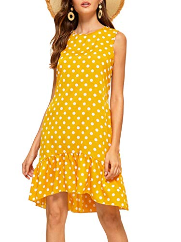 Lannychic Women's Sleeveless Tunic Dress Polka Dots Ruffle Loose Mini Dress Swing Shift Dresses - Yellow S