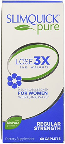 Slimquick Pure , Regular Strength dietary supplement, 60 Caplets, Lose 3x the weight (Packaging May Vary)