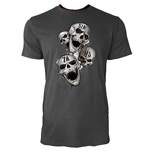 SINUS ART ® Schreiende Totenköpfe Herren T-Shirts in Smoke Fun Shirt mit tollen Aufdruck