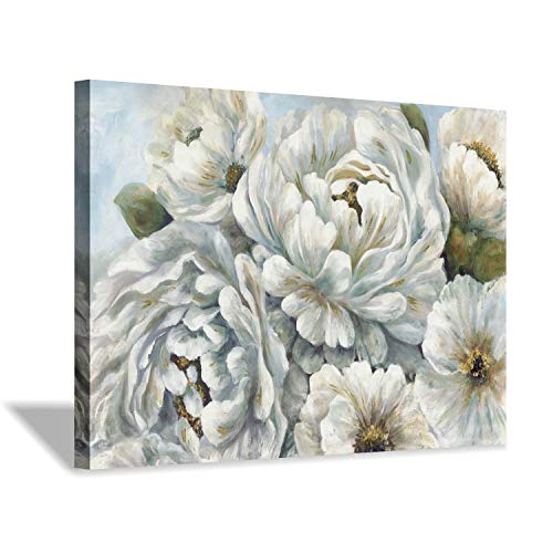 (Peony Flowers Canvas Wall Art: Blossom White Floral Painting Picture for Living Rooms Office (36''X24''))