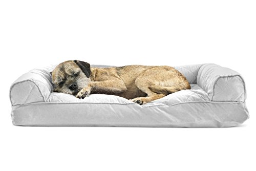 Furhaven Pet Dog Bed | Quilted Pillow Sofa-Style Couch Pet Bed for Dogs & Cats, Silver Gray, Medium