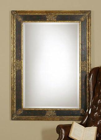 extra large ornate black gold wall mirror beveled oversize