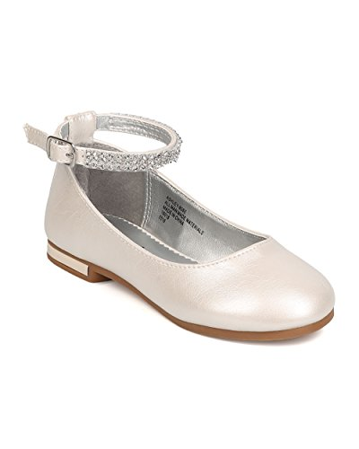 Little Angel FB37Leatherette Rhinestone Ankle Strap Ballerina Flat (Toddler Girl / Little Girl / Big Girl) - Ivory (Size: Toddler 9) by Little Angel (Image #5)