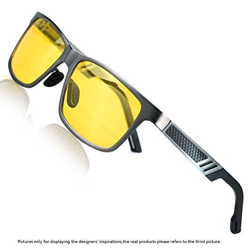 Rocknight Polarized Driving Sunglasses Wayfarer Metal Frame Yellow Lens Night Vision Sunglasses UV - Color Enhancing Sunglasses