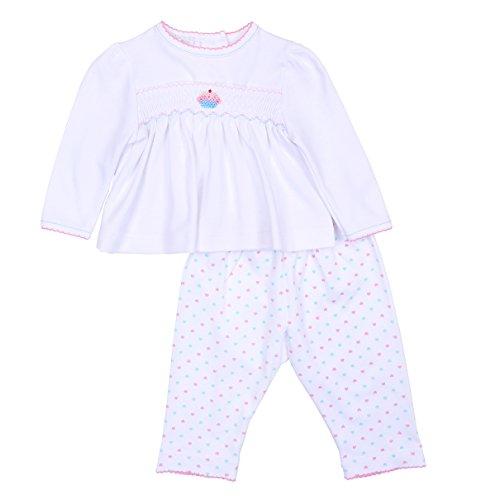 Smocked Cupcake (Magnolia Baby Baby Girl Cute Cupcake Smocked 2pc Pant Set Pink 3 Months)