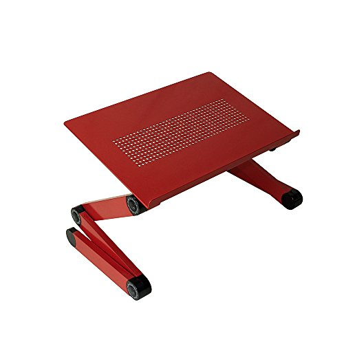 SOJITEKRed Adjustable Vented Laptop Table Laptop Computer Desk Portable Bed Tray Book Stand Push Button Joints up to 17
