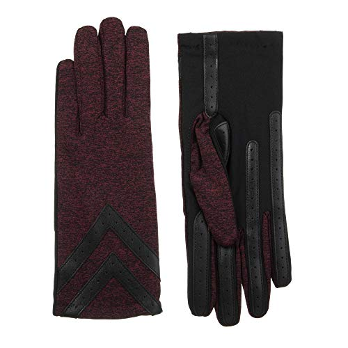 - Isotoner Women's Fleece-Lined Gloves with Chevron Applique and Smart Touch, smartDRI Henna Heather, L/XL
