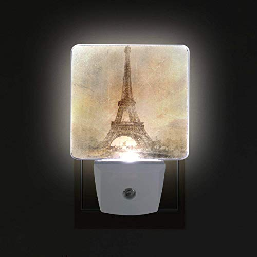 xiaodengyeluwd Plug-in LED Night Lights with Vintage Eiffel Tower Nightlights with Dusk to Dawn Sensor White Light Perfect for Bathroom Kitchen and Hallway Set - Fixture Kitty Light Hello
