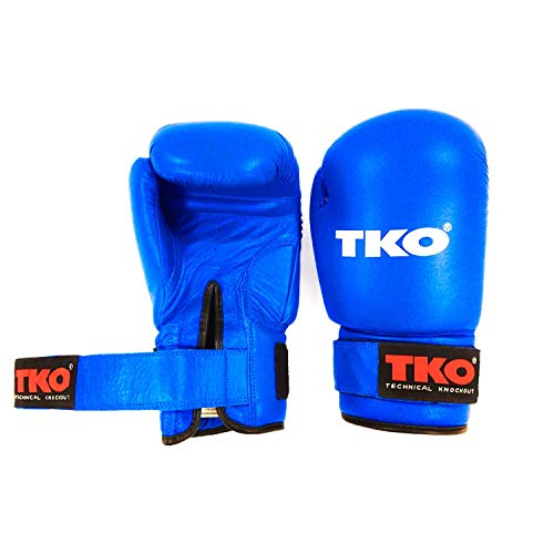 TKO Boxing Gloves Leather Pro Training Kick Sparring Punching Glove Blue 16 oz