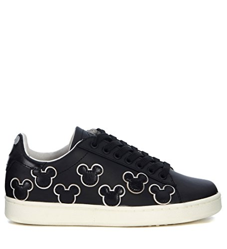 MoA – Master of Arts Women's moa Mickey Mouse Black Leather Sneaker 38(EU)-8(US) Black