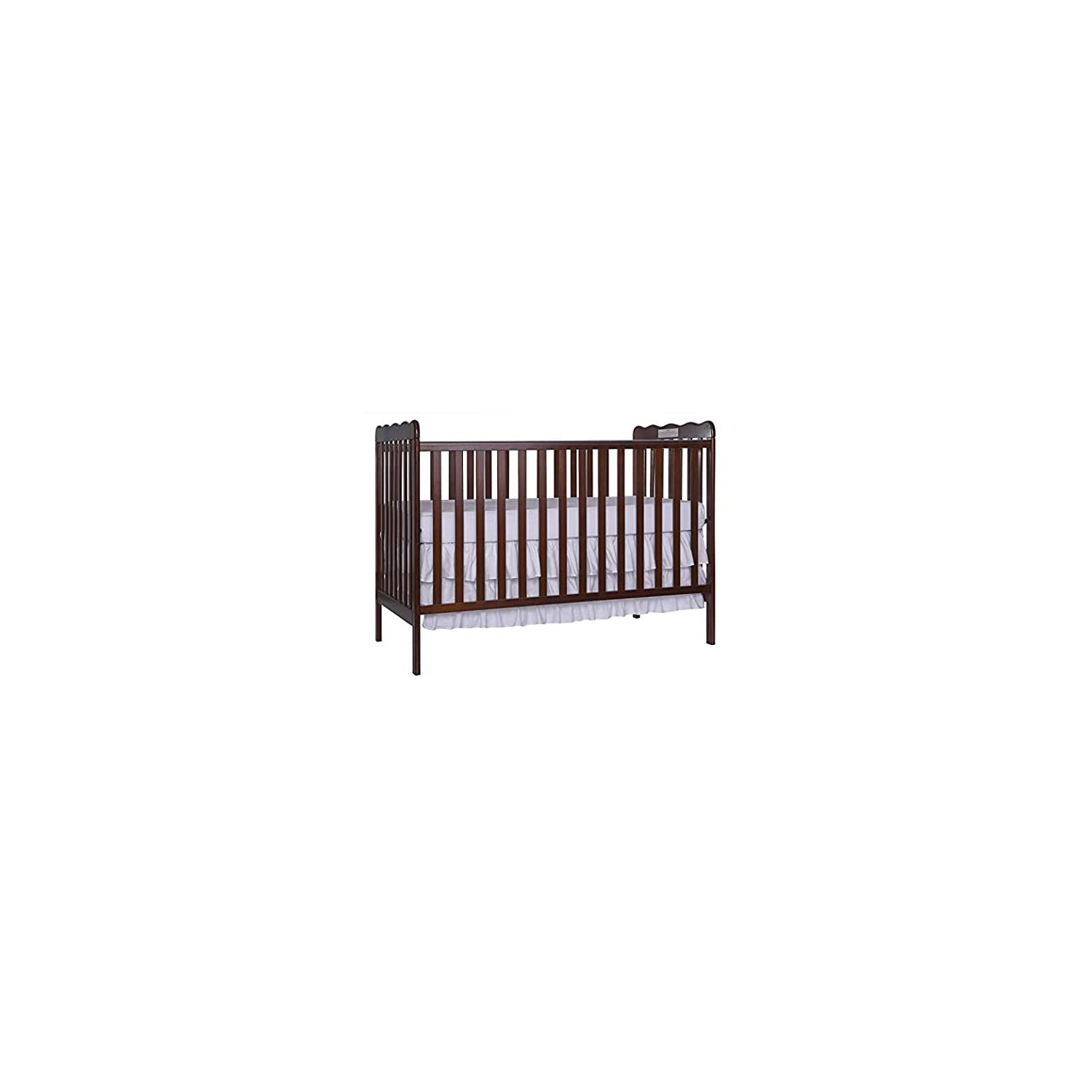 Dream On Me, Carson Classic 3 in 1 Convertible Crib in Espresso with Spring Crib and Toddler Bed Mattress, Twilight