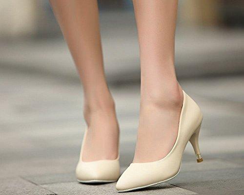 Charm Foot Womens Elegante Scarpe A Punta Tacco Alto Scarpe Beige