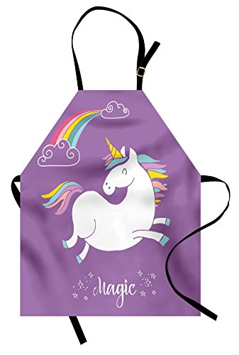 Ambesonne Unicorn Apron, Mythical Animal with Clouds and
