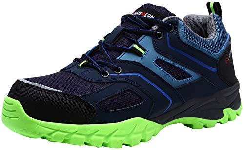 LARNMERN Steel Toe Shoes Men, Work Safety Sneakers Lightweight Industrial & Construction Shoe (10, Blue-Green) ()