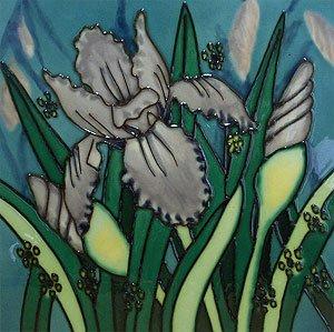 Iris Flower Ceramic Wall Art Decorative Tile 8x8