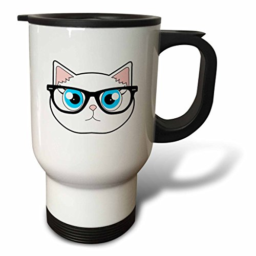 3dRose tm_175371_1 Cute Hipster Cat with Glasses, Travel Mug, 14-Ounce, Stainless Steel