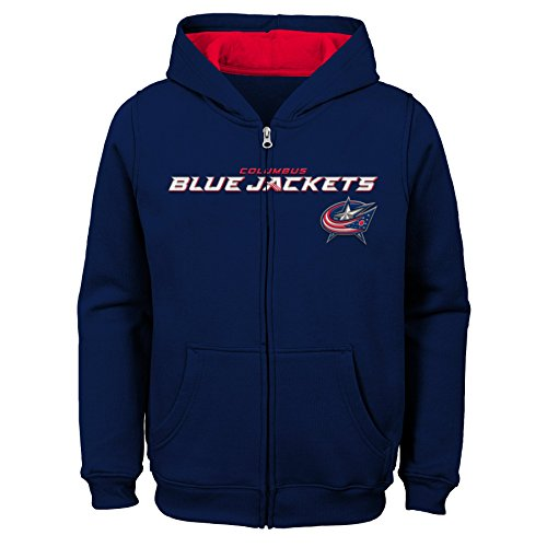 Outerstuff NHL Columbus Blue Jackets Youth Boys Stated Full Zip Hoodie, X-Large(18), True Navy