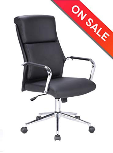 LCH High Back Leather Classic Office Chair with Adjustable Tilt Angle - Computer Desk Chair with Thick Padding for Comfort and Ergonomic Design for Lumbar Support