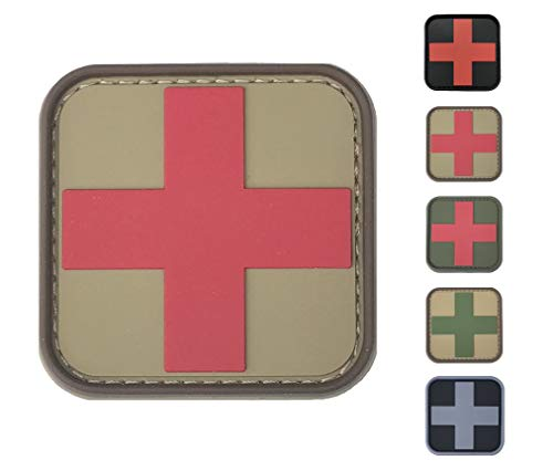 Out Embroidered Patch - Medic Red Cross First Aid Morale Patch - Perfect for IFAK Rip Away Pouch, EMT, EMS, Trauma, Medical, Paramedic, First Response Rescue Kit, Tactical, Combat, Emergency, Blow Out, EDC Bag (Coyote-Red)